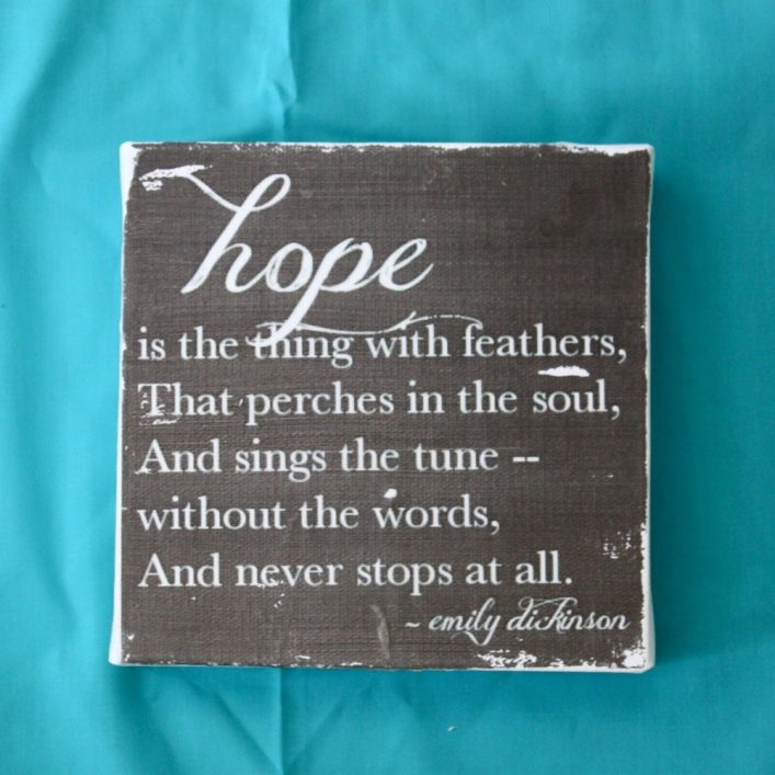 """""""hope is the thing with feathers..."""" quote by Emily Dickinson // shopsmallbird.com"""