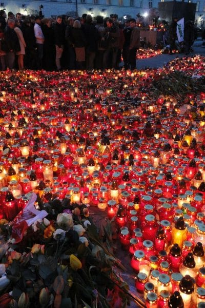 sea of candles on the ground