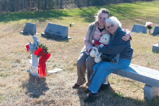 My grandmother and I visiting our girls