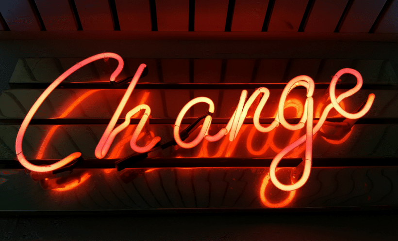 Change written in neon lights