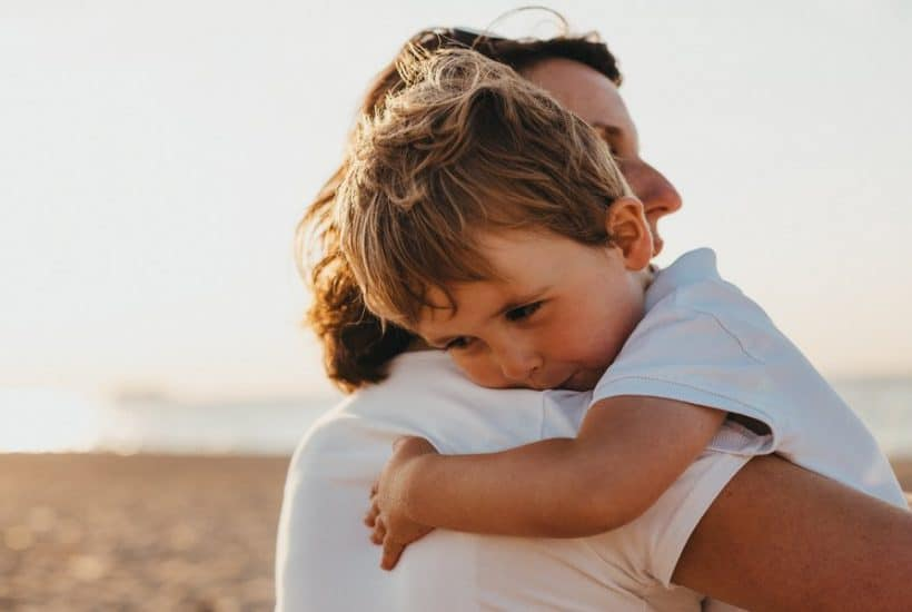 Comforting grieving child