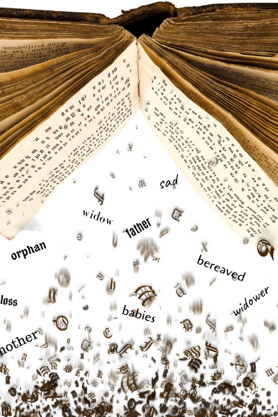 book upside down with words falling out