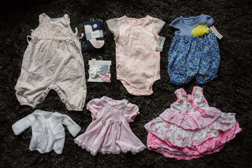 Photo of the clothes never worn by Abby Naylor who was stillborn.